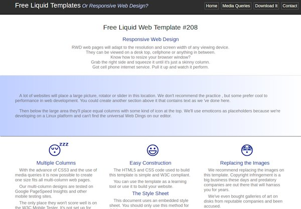 Free Liquid Templates or Responsive Web Design